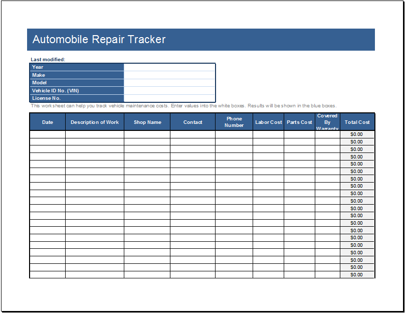 Automobile repair tracker