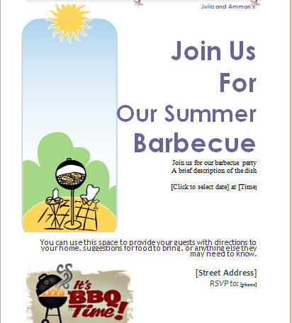barbecue invitation card