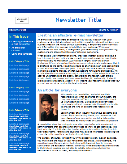 Business newsletter 2 pages