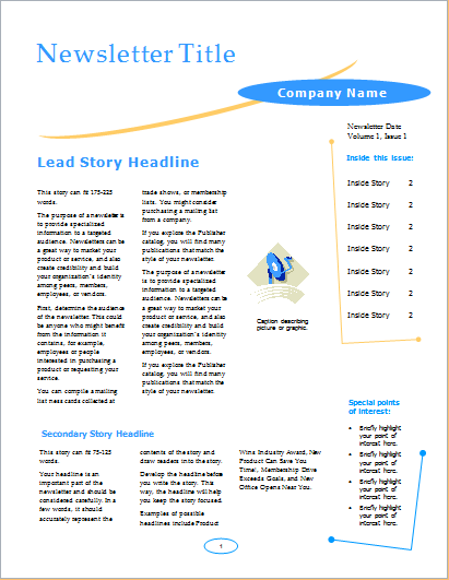 Business newsletter arc design 4 pages