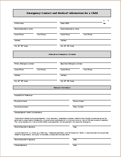 Child emergency contact and medical information sheet for Emergency contact form template for child