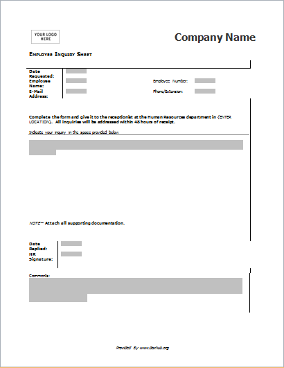 employee inquiry form for word  u0026 openoffice writer