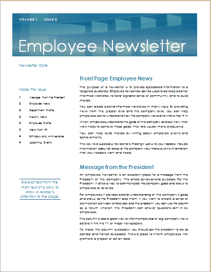15 editable newsletter templates for ms word document hub for Staff newsletter template