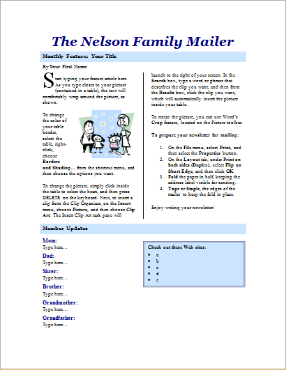 Family newsletter 2 pages