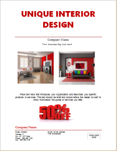 Interior design marketing flyer
