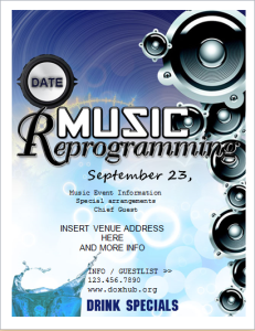 Music event program flyer