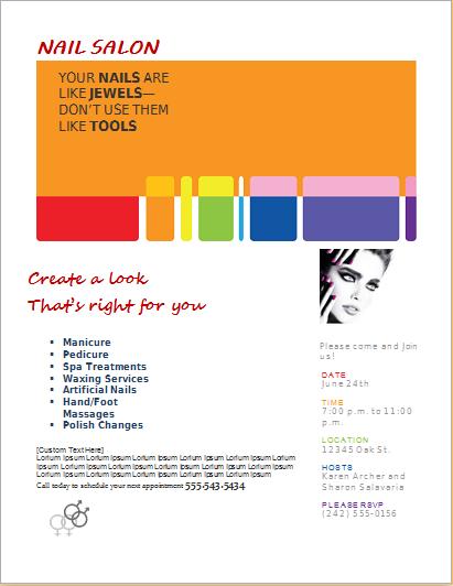 Nail salon services flyer