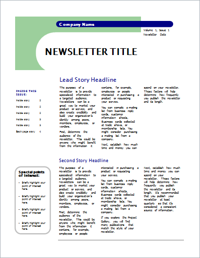 Newsletter capsules design-4 pages