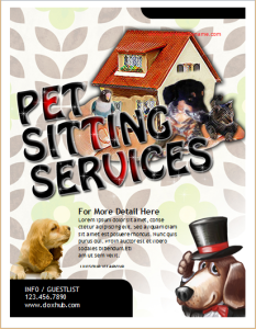 Pet sitting services flyer