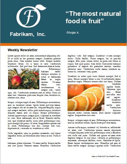 Restaurant weekly newsletter