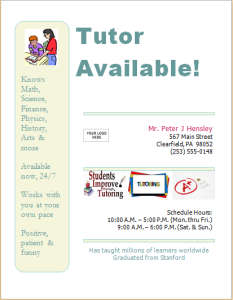 Tutor services flyer