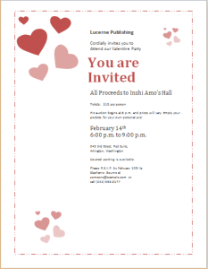 Valentine day celebration invitation