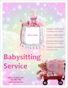 babysitter services flyer