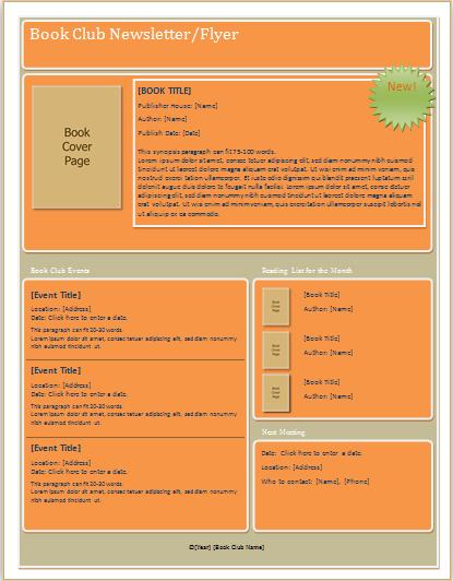 book club flyer document hub. Black Bedroom Furniture Sets. Home Design Ideas