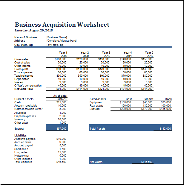 business acquisition worksheet