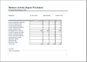 business activity report worksheet