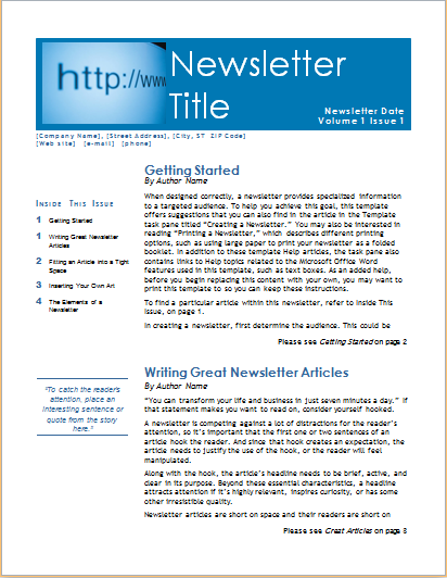 15 editable NEWSLETTER TEMPLATES for MS WORD – Business Newsletter