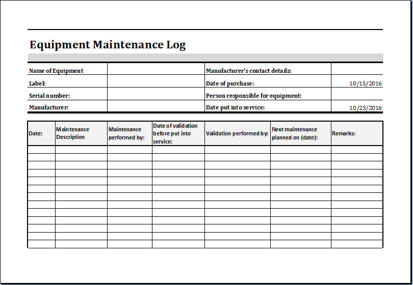 machine maintenance form