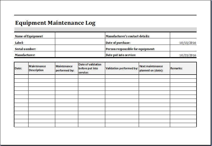 equipment maintenance worksheet