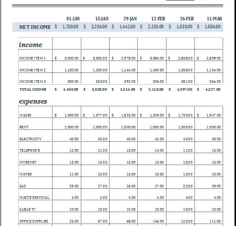 18 period budget template