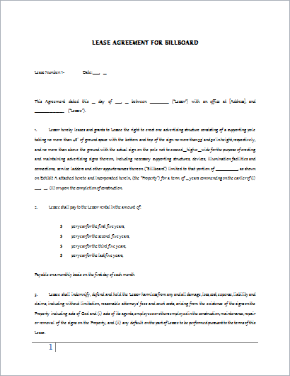 Billboard Lease Contract Template for WORD – Lease Agreement Contract