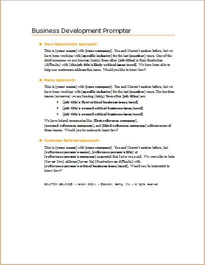 Business development prompter