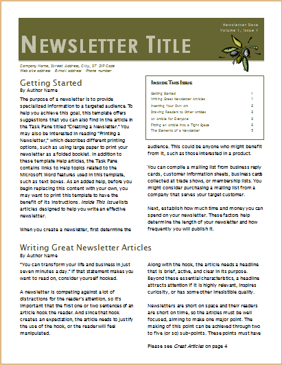 Business newsletter 2 column 6 pages