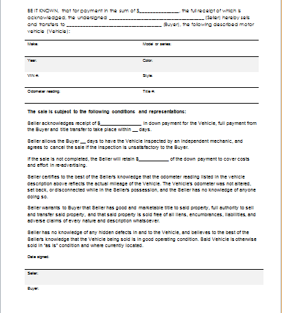 Document Templates Part 7 – Car Sale Agreement Sample