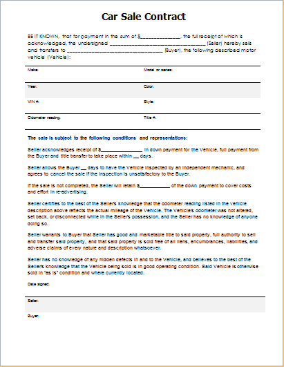 Car Sale Contract Template for WORD Document Hub
