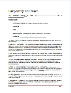 Carpentry contract