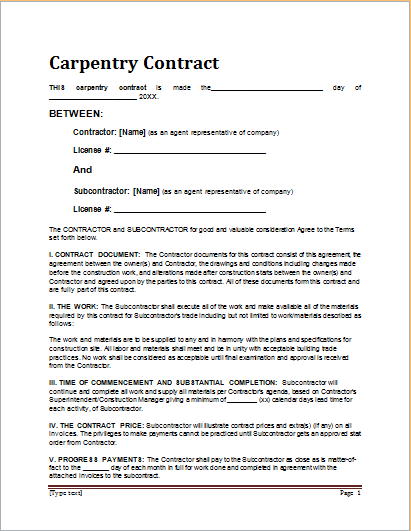 Carpentry Contract Template  Contract For Services Template