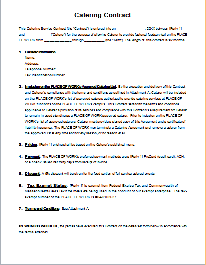 Catering Contract Template for MS WORD | Document Hub
