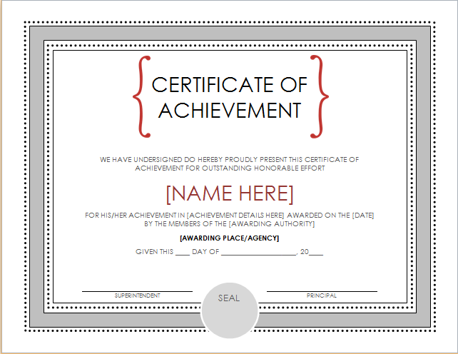Certificate of Achievement Template for WORD | Document Hub