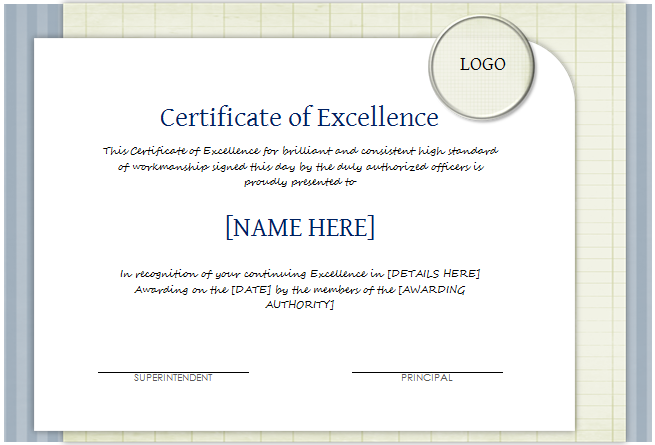 Lovely Certificate Of Excellence Template  Certificates Of Excellence Templates