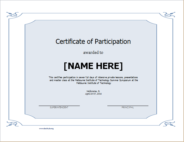 Template certificate of participation leoncapers certificate of participation template for word document hub yelopaper Choice Image