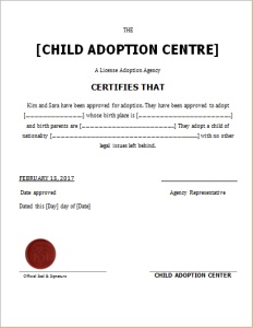 Child adoption certificate