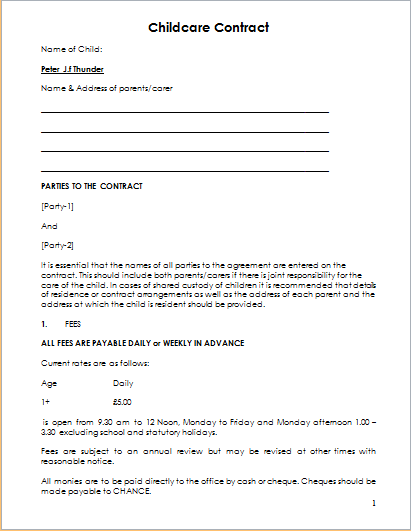 Child Care Contract Template For Ms Word Document Hub