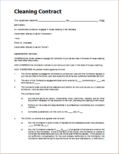 Sample Cleaning Contract Template for MS WORD – Cleaning Contract Template