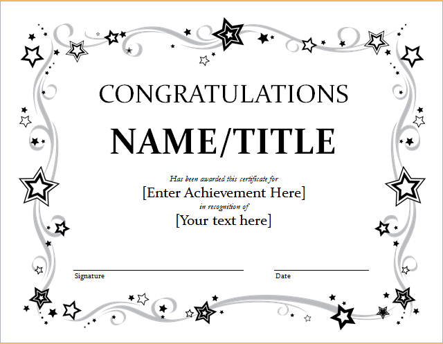 congratulation certificate template for word