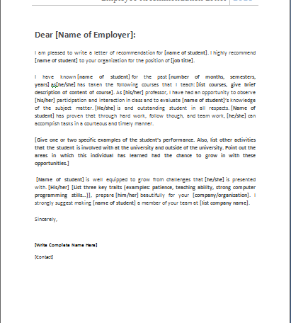 Graduate school recommendation letter | Document Hub