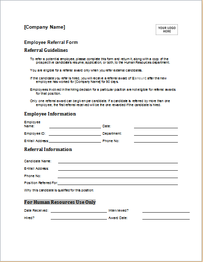 employee referral form template for ms word