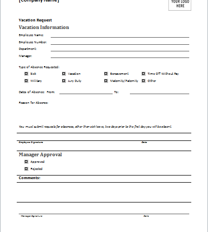 Holiday Request Form – Request Form
