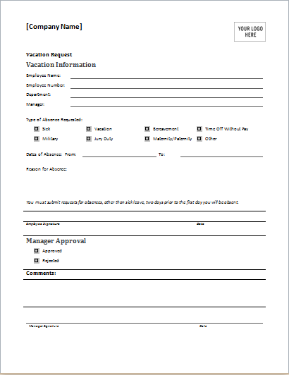 Employee Vacation Request Form for MS WORD – Vacation Request Form