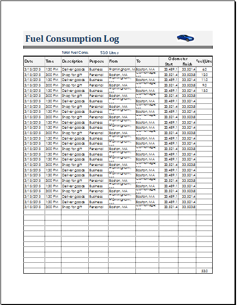 fuel consumption log