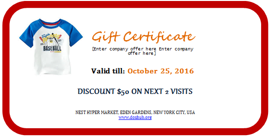 Garments shopping gift certificate
