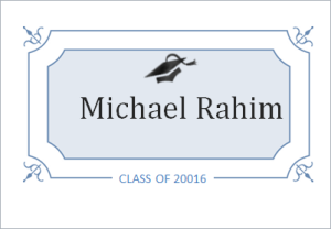 Graduation name card