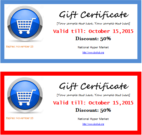 Grocery gift certificate