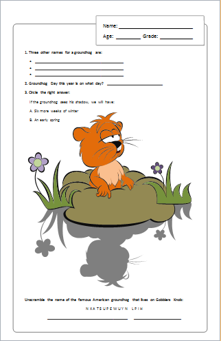 Groundhog day activity page