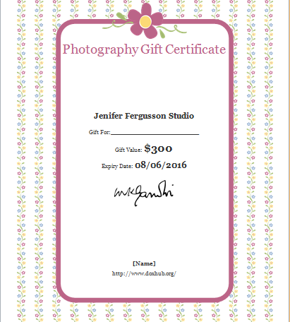 photography gift certificate template document hub