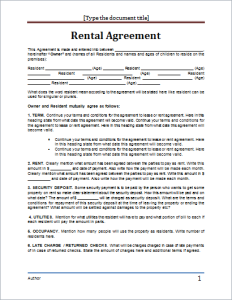 rent agreement format in word